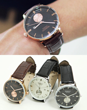12802 - モーメントレザー腕時計<br> (3 color) <br>