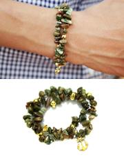 12803 - ビーズの宝石用原石二行のブレスレット<br> (3 color) <br>