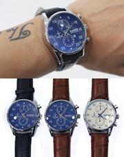 16219 - 配色ポイントレザー腕時計<br> (3 color) <br>