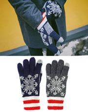 18649 - 雪花ニット手袋<br> (2 color) <br>