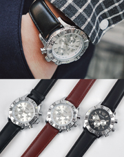 18763 - ボールドメタルレザー腕時計<br> (3 color) <br>