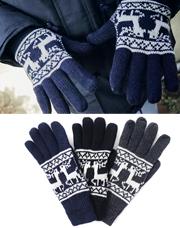 18782 - 鹿パターンタッチ手袋<br> (3 color) <br> <FONT color=#990000><b><ファー裏地></b></font> <BR>