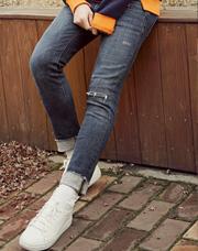 20802 - ソルト膝カットデニムパンツ<br> (4 size) <br>