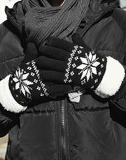22312 - 温か雪花パタンタッチ手袋<br>男女カップルサイズ<br>