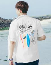 23100 - サーフィンバックプリントオープンシャツ<br> <font style=font-size:11px;color:#595959>48(95〜100)/ 50(100〜105)</font> <br>