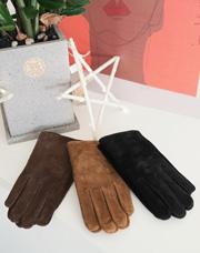 18758 - ラムスキンスエード手袋<br> (3 color) <br> <FONT color=#990000><b><ファー裏地></b></font> <BR>
