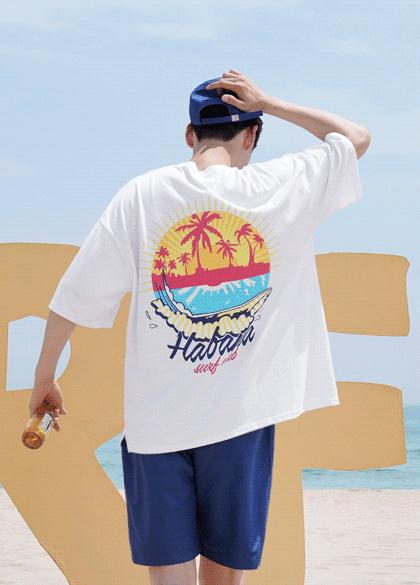 24901 - モーニングアロハオーバーフィットティーシャツ<br> <font style=font-size:11px;color:#595959>Fサイズ(95〜110)</font> <br>